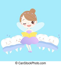 teeth with tooth fairy - cute cartoon teeth sleep with tooth...