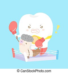 teeth beat cigarettes - cartoon teeth beat cigarettes with...