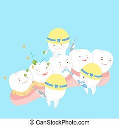 cartoon tooth on gum with blue background