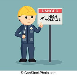 electrician with high voltage sign