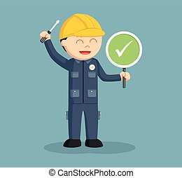 electrician with checklist sign
