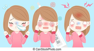 cartoon girl get cold - cute cartoon girl get cold and feel...