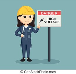 female electrician with high voltage sign