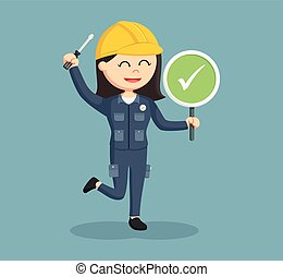female electrician with checklist sign