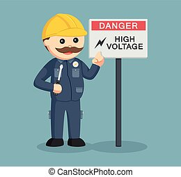 fat electrician with high voltage sign