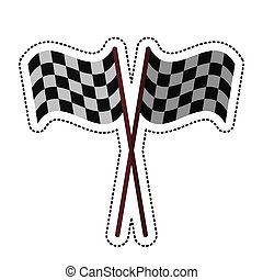 cartoon crossed flag start racing design