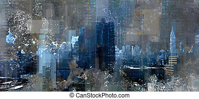 Manhattan harbor - Modern Abstract, Manhattan