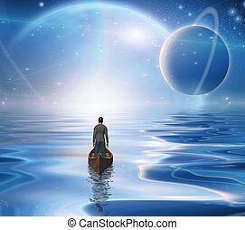 Journey - Man in boat floats to bright horizon.