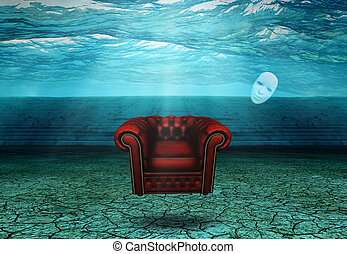 White Mask and armchair floats in desert ruins