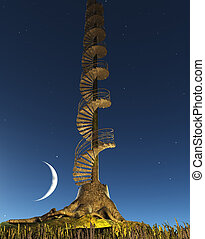 Circular Staircase rises into twilight sky from Tree Stump