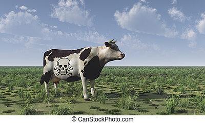 Cow - Surrealism. 3D render. Cow with death sign stands on...