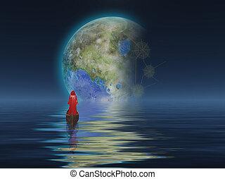Terraformed Luna - Figure in cloak floats in boat towards...
