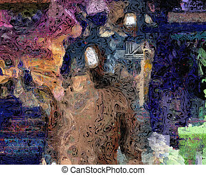 Abstraction - Abstract painting with faceless man.