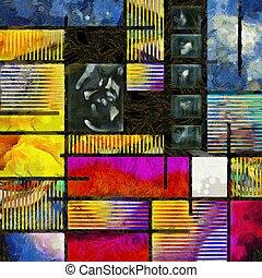 Mondrian - Abstract pattern. Mondrian style.
