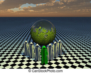 The temple of ether - Shapes before a moss covered sphere