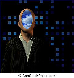 Faceless - Man in suit with clouds instead of face.
