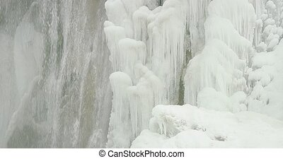 Plitvice lakes waterfall detail - Detail shot of the frozen...