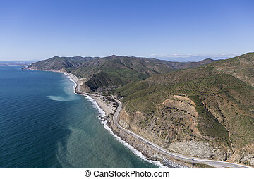 North Malibu Aerial Pacific Coast Highway - Aerial of...