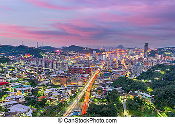 Keelung City, Taiwan skyline at twilight.