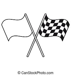crossed flag start racing thin line