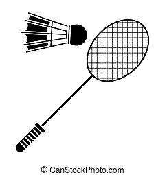 badminton racket shuttlecock sport pictogram