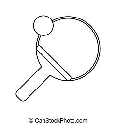 ping pong paddle ball thin line vector illustration eps 10