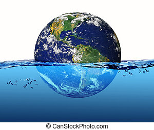 planet earth in water
