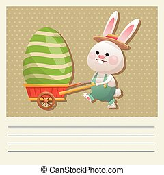 cartoon happy easter bunny carrying egg vector illustration