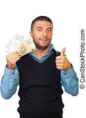 Man holding euro money and give thumbs - Smiling business...