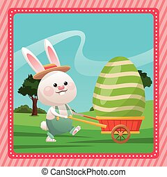 happy easter bunny carrying egg pink frame vector...