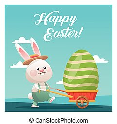 happy easter bunny carrying egg blue sky vector illustration