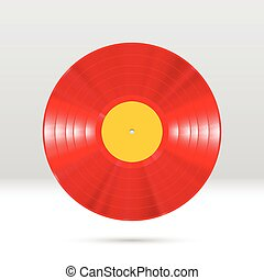 Vinyl disc 12 inch LP record with colorful grooves, shiny...