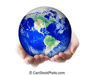 earth - woman holding a globe in hands