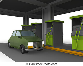 3D representation of a Car in a fuel station isolated in...