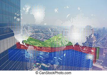 Double exposure of world map and financial graph chart on cityscape background.