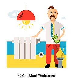 Vector Concept Energy of Ukraine. Flat style colorful...