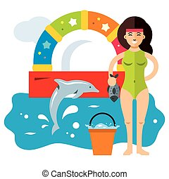 Vector Dolphinarium Concept. Flat style colorful Cartoon...