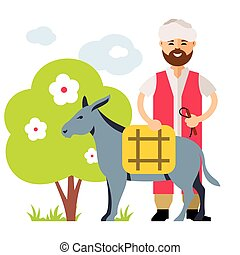 Vector Donkey Drover. Flat style colorful Cartoon...