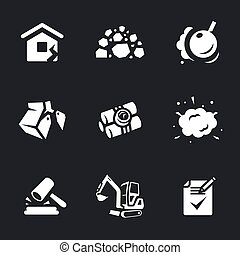 Vector Set of Demolition Icons. - Emergency, building,...