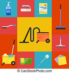 Cleaning icons set - Cleaning tools icon set flat raster...