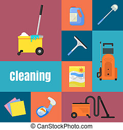 Cleaning icons on banner raster illustration - Cleaning...