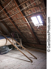Vintage attic - roof frame, ladder and junk
