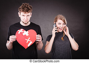 Young couple in separation because of betrayal. - Betrayal...