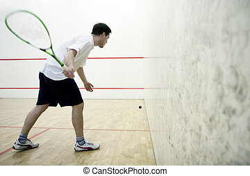 Playing squash - Squash player in action