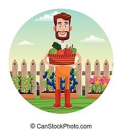 bearded farmer with vegetable basket garden fence
