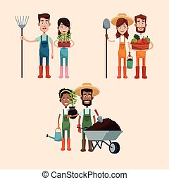 group couple farmers image vector illustration eps 10