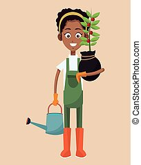 african woman farmer plant and water can vector illustration...
