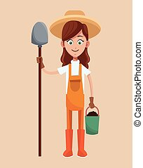 farmer girl straw hat shovel and bucket earth vector...