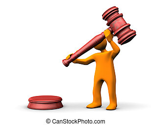 Auctioneer - Orange cartoon with a judge hammer on the white...