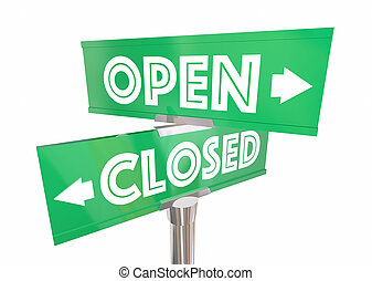 Open Closed Road Signs Construction Words Way Route 3d...